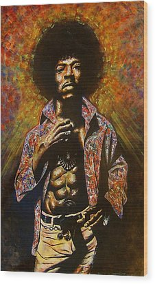 Wood Print featuring the painting Jimi Hendrix by Darryl Matthews