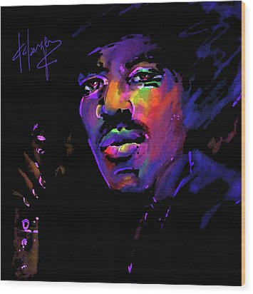 Wood Print featuring the painting Jimi Hendrix by DC Langer