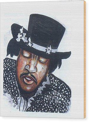 Wood Print featuring the painting Jimi Hendrix by Emmanuel Baliyanga