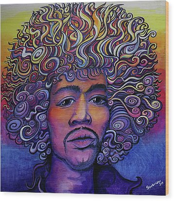 Wood Print featuring the painting Jimi Hendrix Groove by David Sockrider