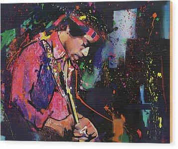 Jimi Hendrix II Wood Print by Richard Day