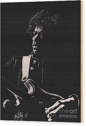 Jimi Hendrix Wood Print by Kathleen Kelly Thompson