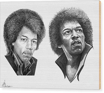 Jimi Hendrix Wood Print by Murphy Elliott