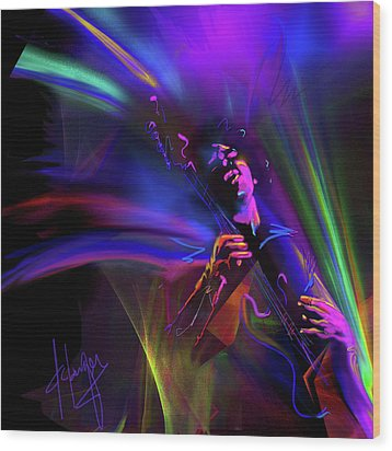 Wood Print featuring the painting Jimi Hendrix, Purple Haze by DC Langer