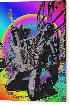 Jimi Hendrix Wood Print by Tim Allen