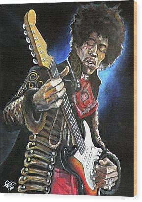 Jimi Hendrix Wood Print by Tom Carlton