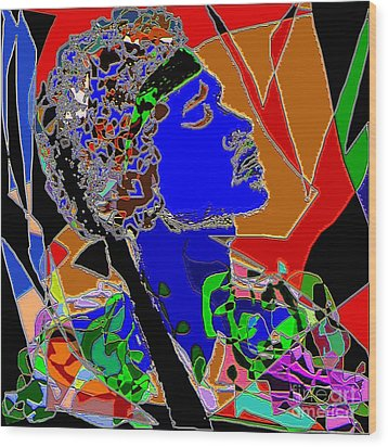 Jimi In Heaven Colorful Wood Print by Navo Art
