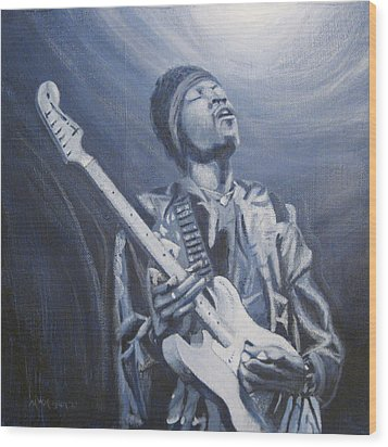 Jimi In The Bluelight Wood Print by Michael Morgan