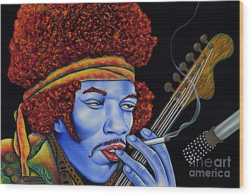 Jimi In Thought Wood Print by Nannette Harris