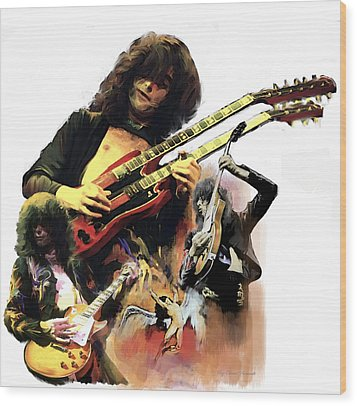 Wood Print featuring the painting Jimmy Page  Echoes Of Pompeii by Iconic Images Art Gallery David Pucciarelli