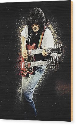 Wood Print featuring the digital art Jimmy Page II by Taylan Apukovska