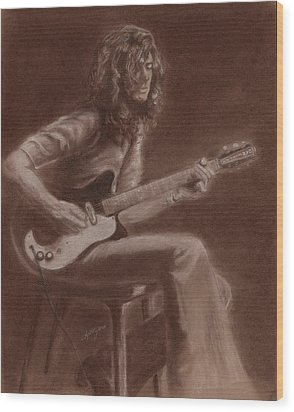 Jimmy Page Wood Print by Kathleen Kelly Thompson