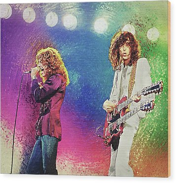 Wood Print featuring the digital art Jimmy Page - Robert Plant by Taylan Apukovska