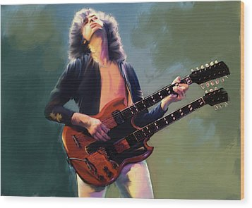 Wood Print featuring the painting Jimmy Page  Stairway  by Iconic Images Art Gallery David Pucciarelli