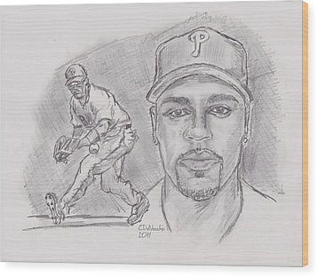Wood Print featuring the drawing Jimmy Rollins Jroll by Chris  DelVecchio