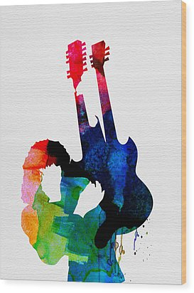 Jimmy Watercolor Wood Print by Naxart Studio