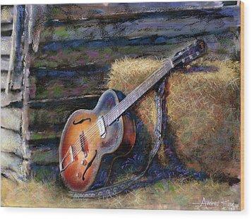 Jim's Guitar Wood Print