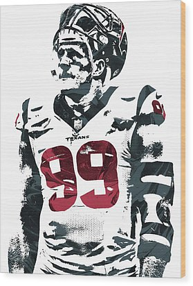 Jj Watt Houston Texans Pixel Art 4 Wood Print by Joe Hamilton
