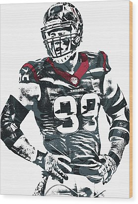 Jj Watt Houston Texans Pixel Art 5 Wood Print by Joe Hamilton
