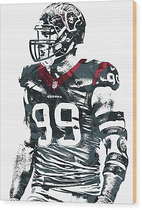 Jj Watt Houston Texans Pixel Art 6 Wood Print by Joe Hamilton
