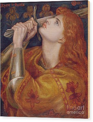 Joan Of Arc Wood Print by Dante Charles Gabriel Rossetti