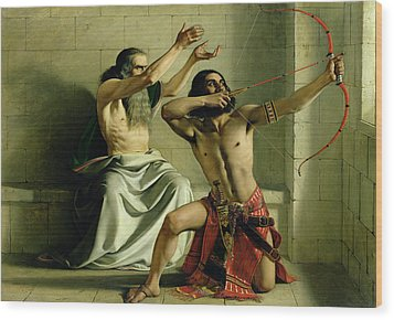 Joash Shooting The Arrow Of Deliverance Wood Print by William Dyce