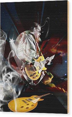 Joe Bonamassa Blue Guitarist Wood Print by Marvin Blaine