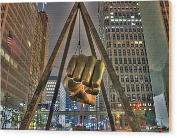 Joe Louis Fist Detroit Mi Wood Print by Nicholas  Grunas