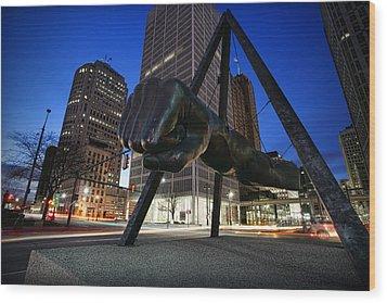 Joe Louis Fist Statue Jefferson And Woodward Ave. Detroit Michigan Wood Print by Gordon Dean II
