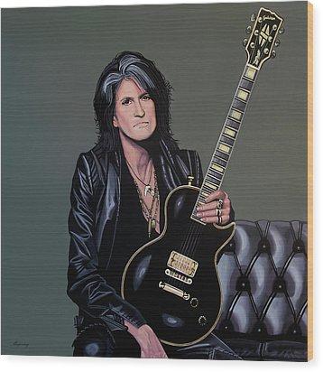 Joe Perry Of Aerosmith Painting Wood Print by Paul Meijering