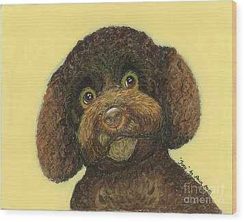 Wood Print featuring the pastel Joey Poodle Mix by Ania M Milo