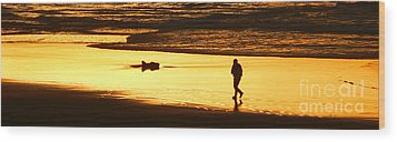 Wood Print featuring the photograph Jog At Sunset by Larry Keahey