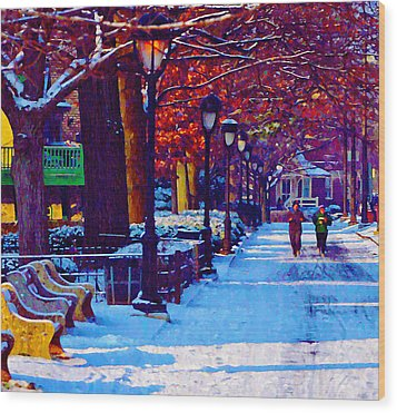 Jogging In The Snow Along Boathouse Row Wood Print by Bill Cannon
