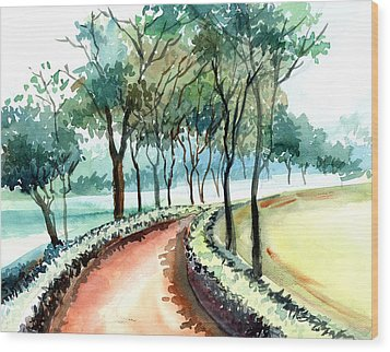Jogging Track Wood Print by Anil Nene
