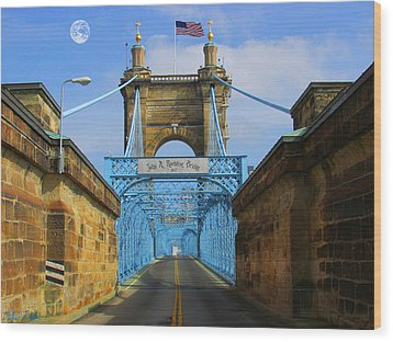 John A. Roebling Suspension Bridge Wood Print by Michael Rucker