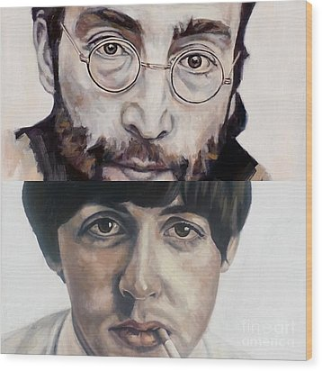 Wood Print featuring the painting John And Paul by Rebecca Glaze
