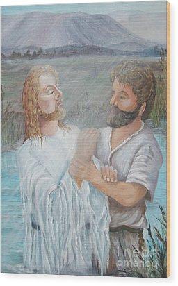 John Baptizing Jesus Wood Print by Janna Columbus