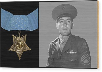 John Basilone And The Medal Of Honor Wood Print by War Is Hell Store