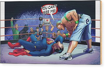 John Cena Vs Superman Wood Print by Khaled Alsabouni