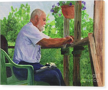 John Cleaning The Rifle Wood Print by Donna Walsh