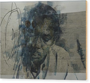 Wood Print featuring the mixed media John Coltrane / Retro by Paul Lovering