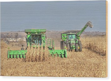 John Deere Combine Picking Corn Followed By Tractor And Grain Cart Wood Print