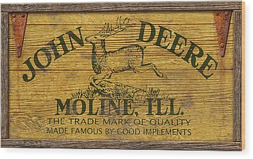 John Deere Sign Wood Print by WB Johnston