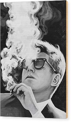 Wood Print featuring the painting John F. Kennedy Artwork 1 by Sheraz A