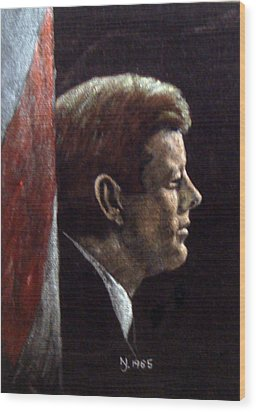 John F. Kennedy Wood Print by Norman F Jackson