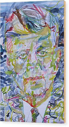 Wood Print featuring the painting John F. Kennedy - Watercolor Portrait.2 by Fabrizio Cassetta