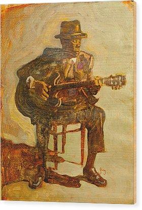 John Lee Hooker Wood Print by Michael Facey