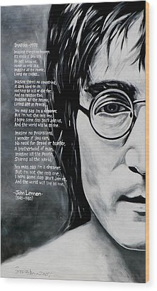John Lennon - Imagine Wood Print by Eddie Lim