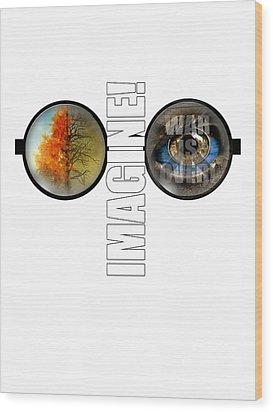 John Lennon - Imagine Wood Print by Lee Brown