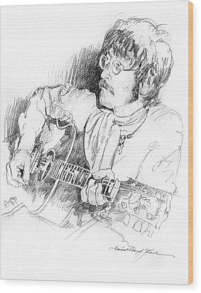 John Lennon Wood Print by David Lloyd Glover